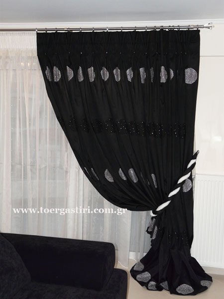 blach and white classic curtain and drape, classic black and white sheer curtains