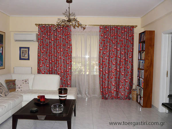 living room floral curtain, florals drapes in the living room