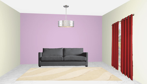 reg rug, red carpet, grey sofa, lilac wall