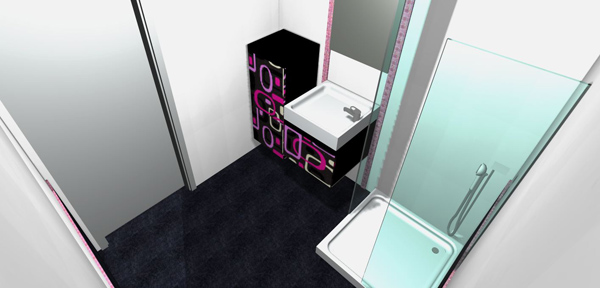 Purple glass mosaic border tiles can be placed in either horizontal or vertical positions
