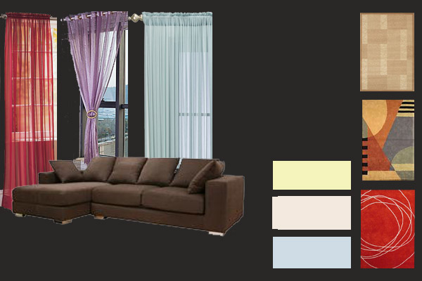 What color walls, curtains and carpets blend with dark brown furniture ...