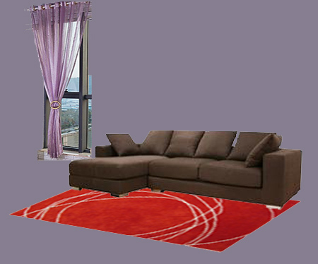 Dark Brown Furniture Purple Curtain Combo01