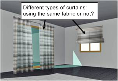 Different types of curtains- using the same fabric or not, roman shades, sliding panels