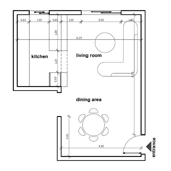 How to place furniture in my open plan living dining room for Kitchen dining room floor plans