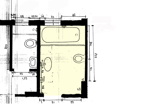 How to arrange sanitary ware in my rectangular shaped long bathroom?
