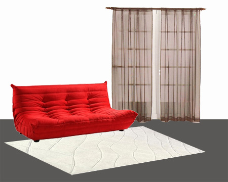 what curtain color goes with red sofa. Black Bedroom Furniture Sets. Home Design Ideas