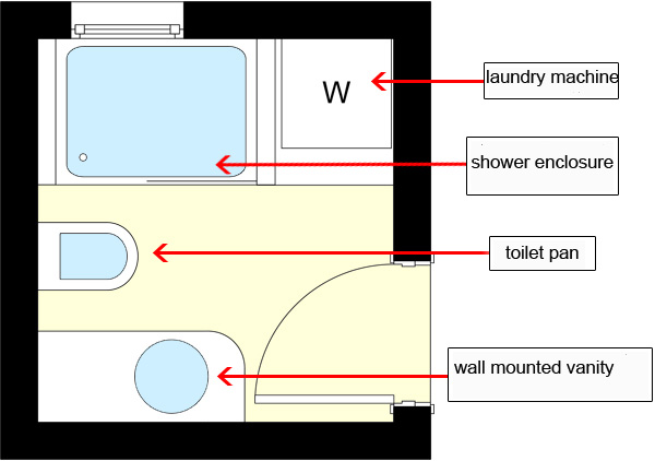 Where to install a laundry machine in an almost square for Laundry bathroom floor plans