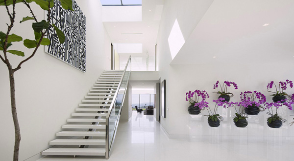 Modern Home Design White Stair White Marble Floor