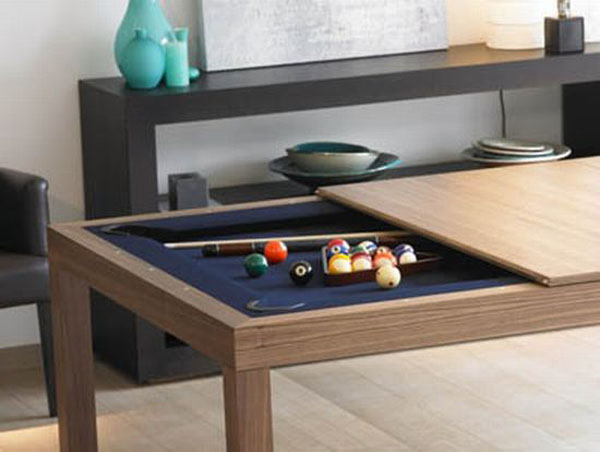 fusion-table, pool table, dining table, open plan kitchen living room