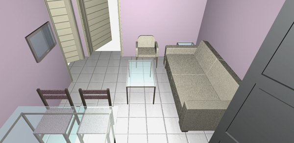 Eleni foyer02, transparent dining table, corner living area, lilac color walls