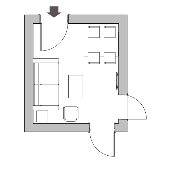 floor plan, hallway plan, small entrance hall