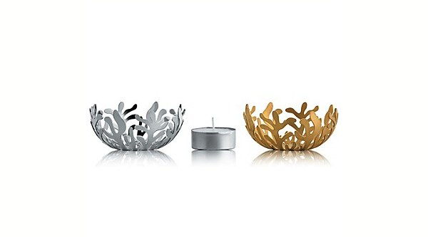 black and gold intro, alessi products, tealight holder