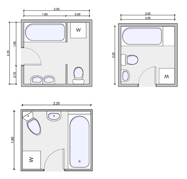 Types of bathrooms and layouts Bathroom floor plans for small spaces
