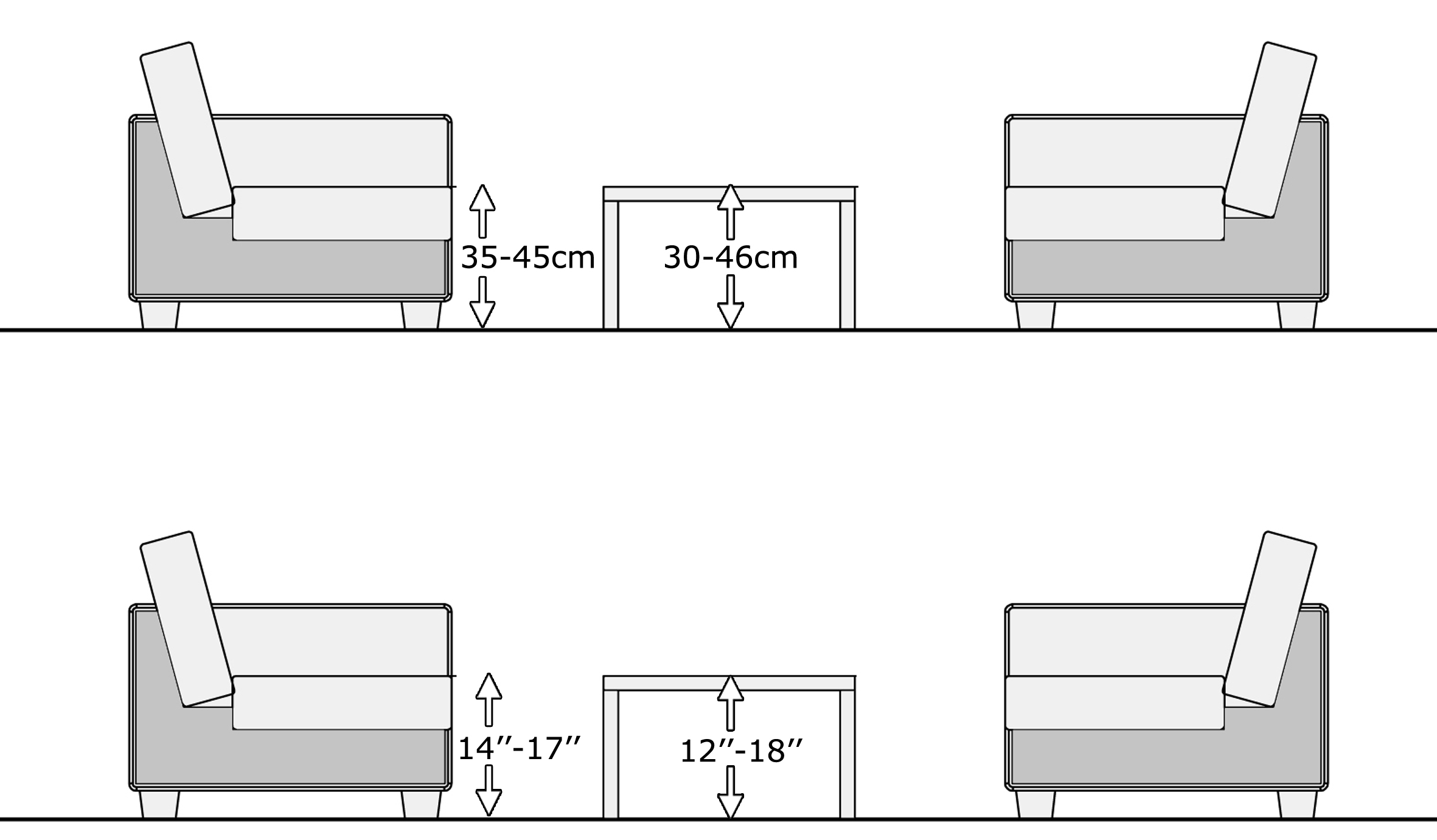 coffee table height, living room table height