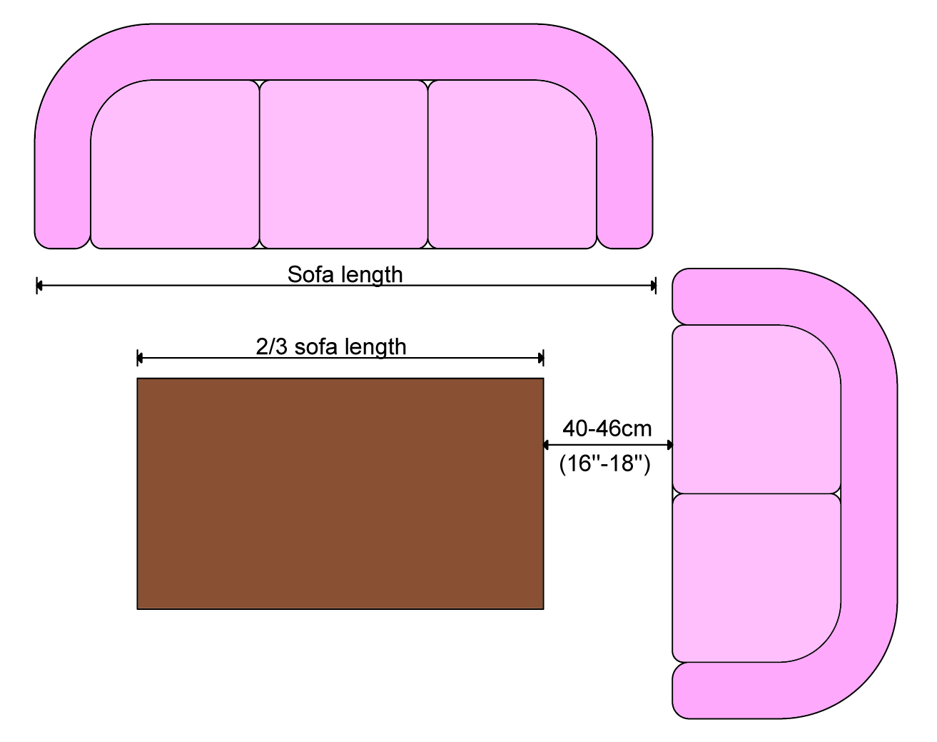 Coffee Table Size Length Measurements Dimensions