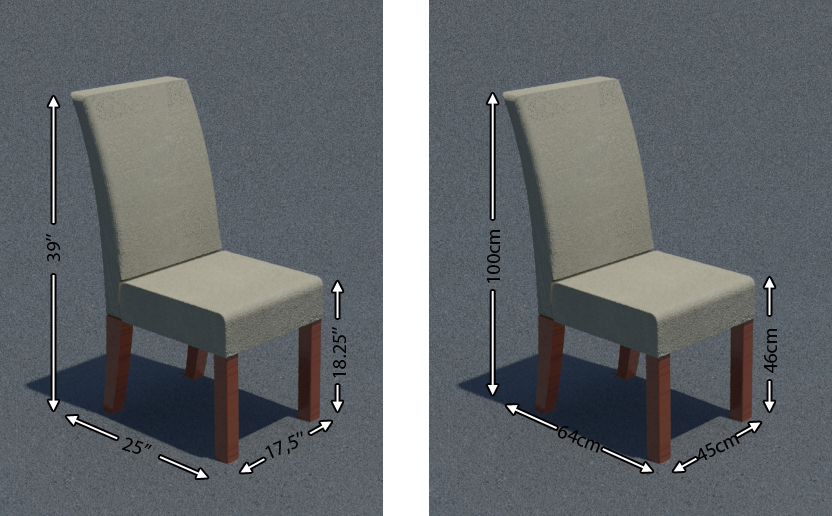 dining chair dimensions, chair dimensions, chair size, dining chair size, chair measurements, dining chair measurements