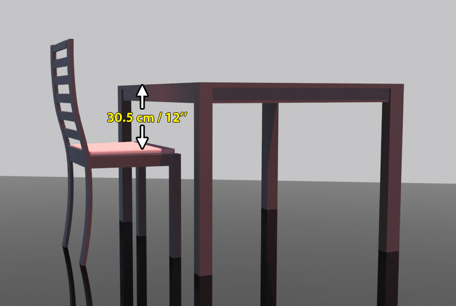 Seat Height Distance Between And Table Tabletop