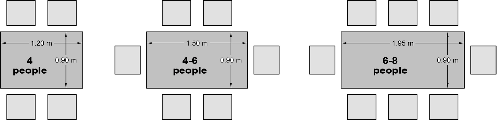 Measurements for 8 person table dining room seating for Dimension table 6 personnes