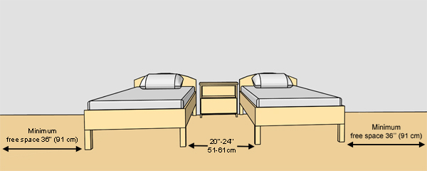 BedroomThe Clearance Between Two Beds