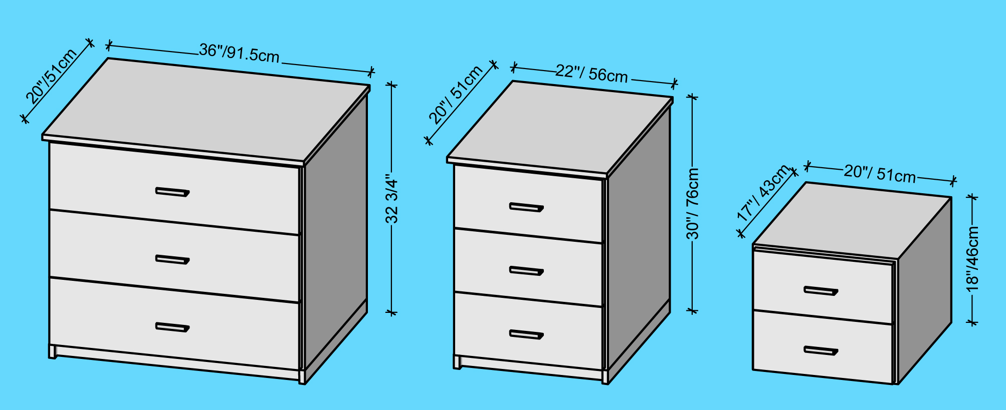 Bedside Chest Dimensions, Bedside Chest Measurements, Bedside Chest Height,  Bedside Chest Size