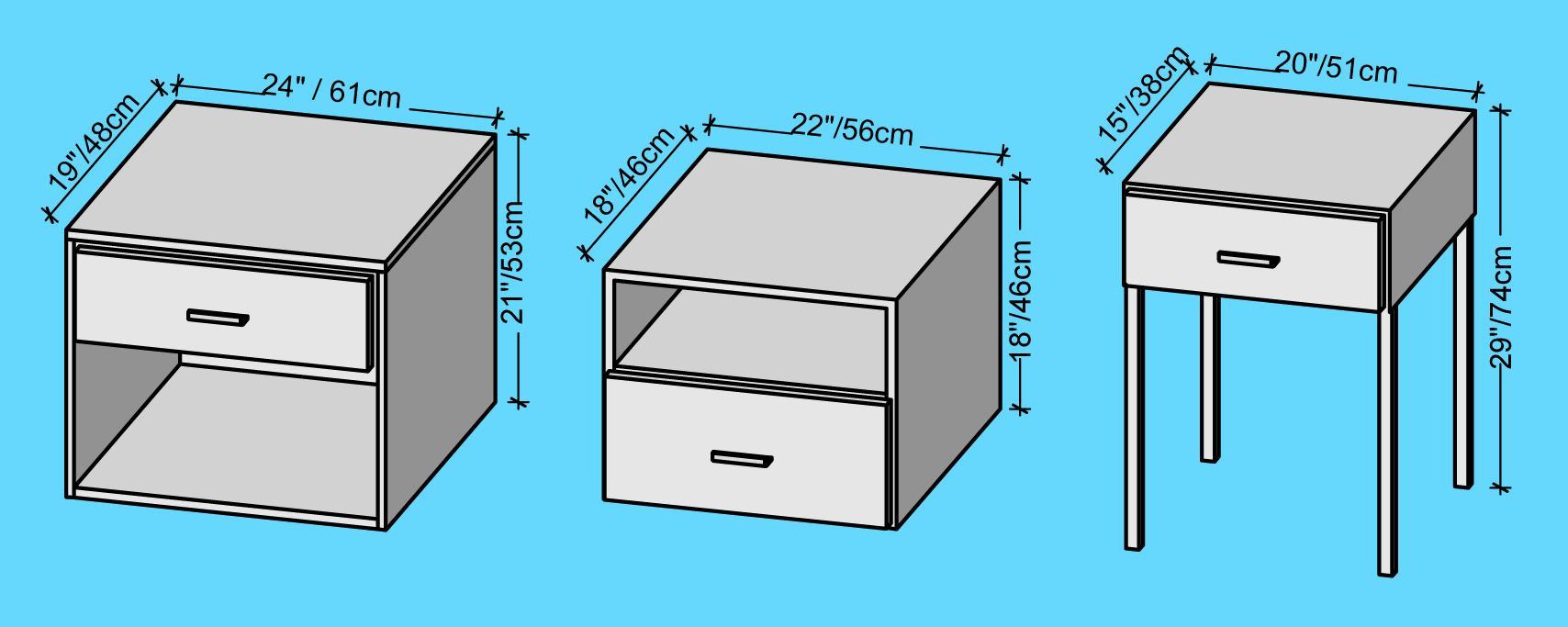 Nightstand Dimensions, Nightstand Height, Bedside Table Height, Bedside  Table Dimensions, Bedside Table