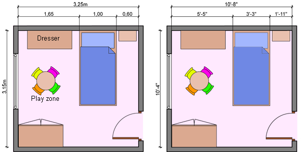 Kids bedroom layouts with one bed