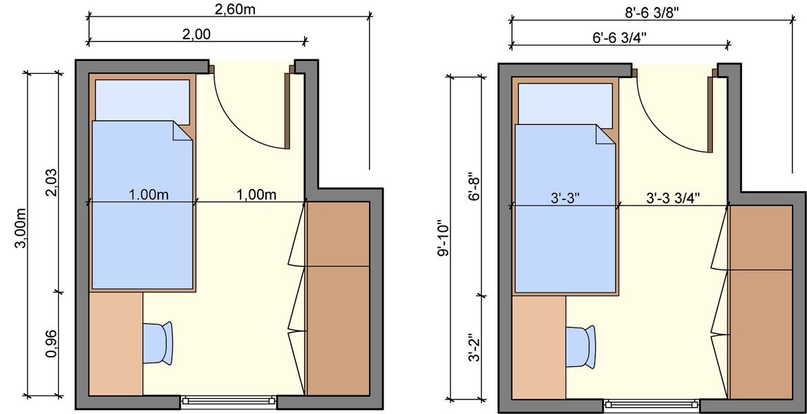 Kid 39 s bedroom layouts with one bed for Bed placement in small room