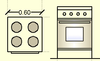 Kitchen Appliances And Furniture With Measurements