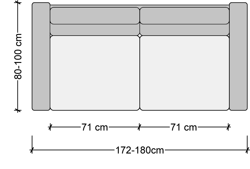 sofa measurements, sofa dimensions, two seater sofa, dimensions