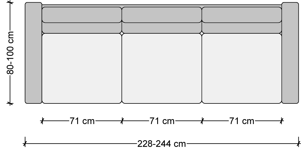 sofa dimensions, 3 seater sofa, measurements