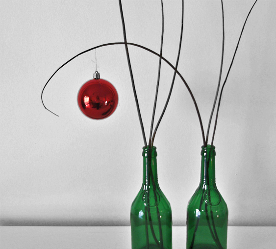 Bottle,natural decoration, eco decoration, natural materials, Branches, baubles, christmas, decoration, table decoration, decoration with christmas baubles, red baubles,