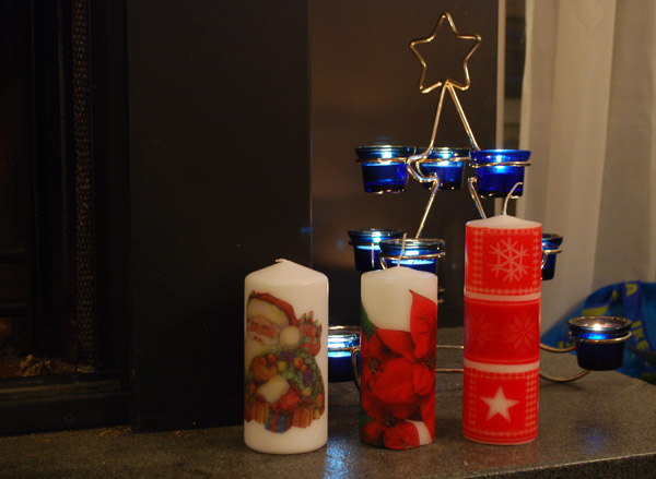 hand decorated candles