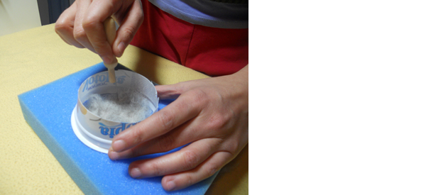The felted coaster has started to take shape. Turn it over, to work ...