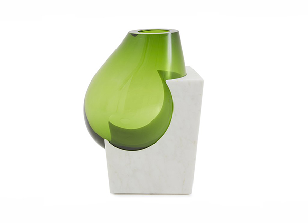OSMOSI limited edition vase, modern vase, vase made of glass and marble