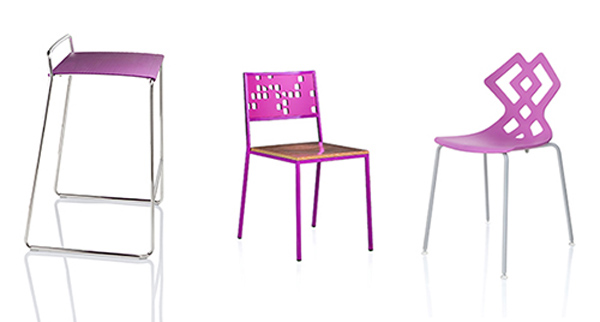 ALMA DESIGN AND RADIANT ORCHID 2014 Pantone colour, stackable chairs
