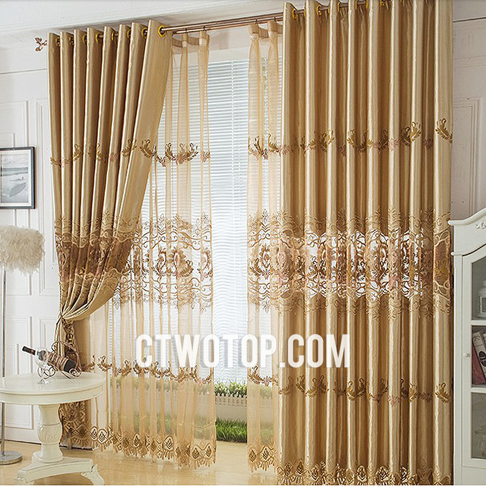 lace curtains, embroidered curtains, curtains, gold curtains, curtains for the living room