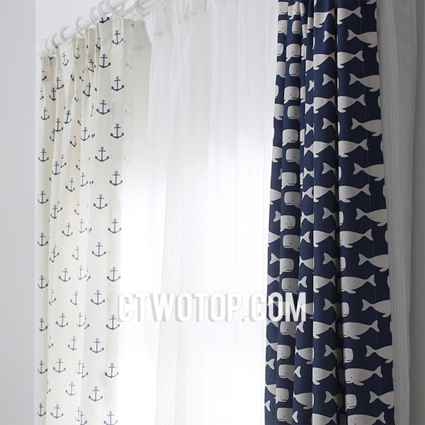 mediterranean style curtains, blue curtains, whale pattern, anchor pattern, sea curtains