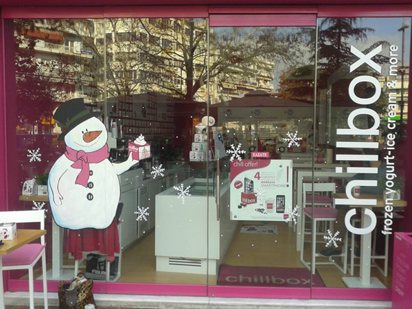 snowman, painting, glass painting, window shop painting