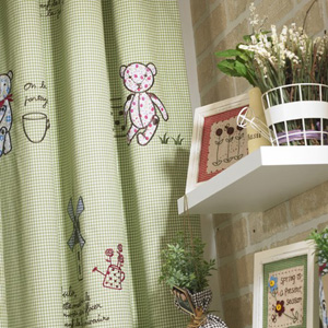 Eco-friendly-Green-Embroidery-Blackout-Curtains-of-Cotton-for-Kids-Two-Panels-C0768-01