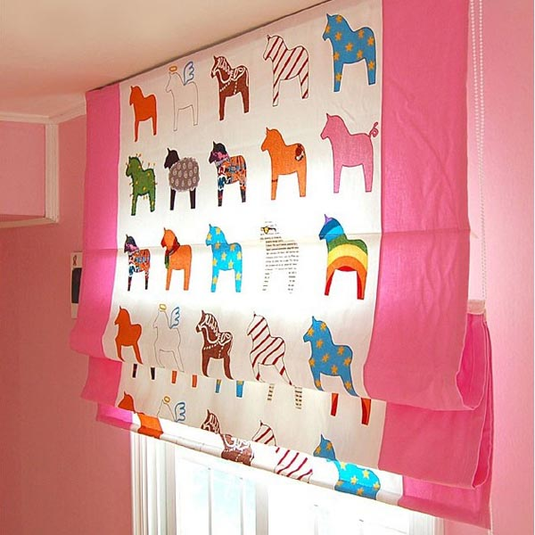 Kids-Little-Poney-Cotton-Blackout-Curtains-in-Pink-Two-Panels-C0803, pink panels, kids' panels