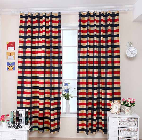Stylish-Edinburgh-Striped-Thicken-Cotton-Children-Room-Curtain-Two-Panels-X056, boys' curtains, plaid kids' curtains