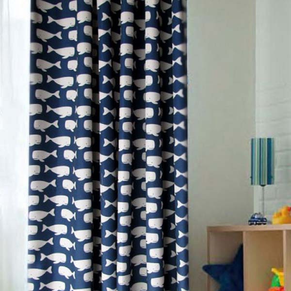 Whale-Blue-and-White-Polyester-Curtains-for-Blackout-Two-Panels-C0744, blackout kids' curtains, blackout chilrdren curtain, navy blue curtains