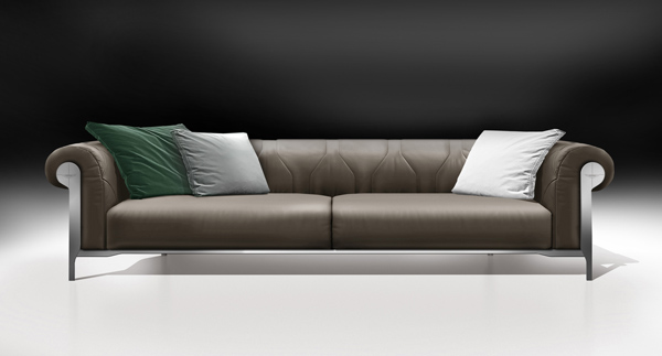 taupe and grey leather sofa