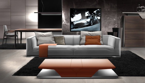 grey leather sofa, brick color ottoman bench