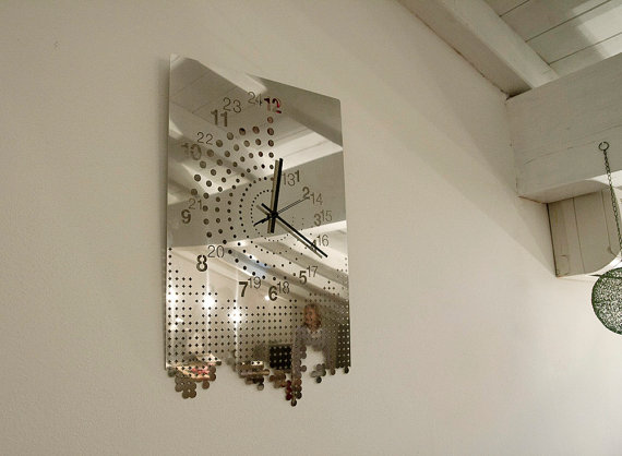 Large Mirror Clock For Wall