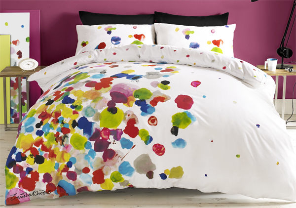 Zandra Rhodes bedlinen, bedlinen design, floral bedlinen, floral design, floral patterns, fashion designers in decoration
