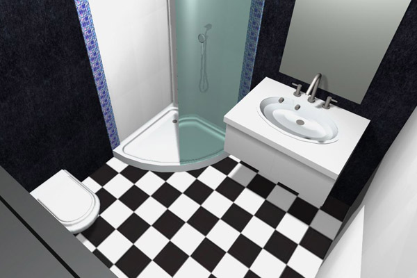 Would Purple Glass Mosaic Tiles Go With Black And White Tiles In My Bathroom