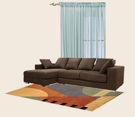 What color walls curtains and carpets blend with dark for Brown couch red curtains