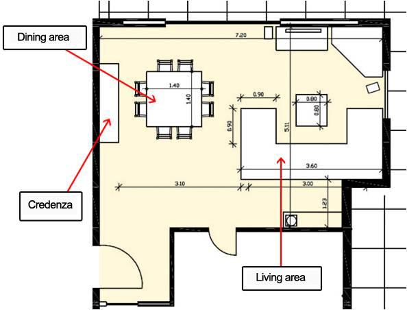 Floor Plan Sideboard Against A Wall