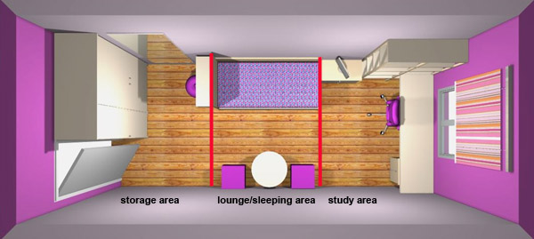 How to arrange furniture in my girl 39 s long and narrow bedroom for Arrange a room with dimensions